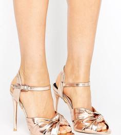 Босоножки на каблуке для широкой стопы с узелками Lost Ink - Золотой