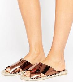 Бронзовые сандалии для широкой стопы с перекрестными ремешками Lost Ink - Медный