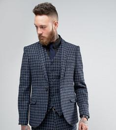 Суперузкий пиджак из твида Харрис Heart & Dagger - Темно-синий