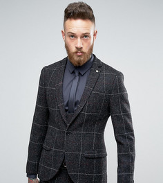 Супероблегающий пиджак из харрис-твида Noose & Monkey - Черный