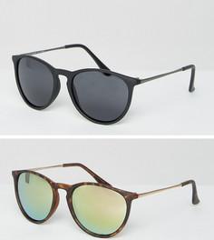 2 пары круглых солнцезащитных очков в стиле ретро (матовые черные, черепаховые) ASOS - Мульти