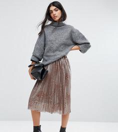 Плиссированная юбка миди со звериным принтом Y.A.S Tall - Золотой