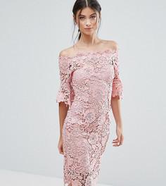 Кружевное платье-футляр с широким вырезом Paper Dolls Petite - Розовый
