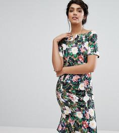 Платье-футляр миди с цветочным принтом и открытыми плечами Paper Dolls Tall - Мульти