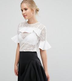 Кружевная блузка с атласными оборками Closet - Белый