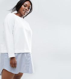 Цельнокройное платье 2 в 1 с полосатым принтом ASOS CURVE - Белый