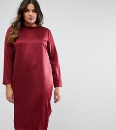 Атласное платье миди с вырезом капелькой сзади ASOS CURVE - Красный