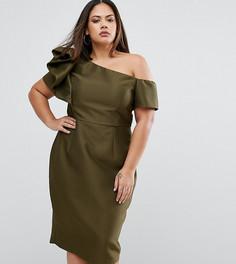 Платье на одно плечо с бантом ASOS CURVE - Зеленый