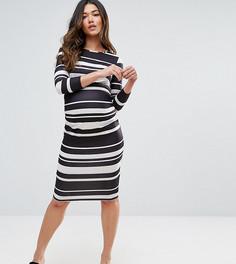 Облегающее платье миди в полоску ASOS Maternity - Мульти