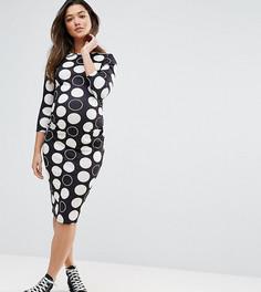 Облегающее платье миди в горошек ASOS Maternity - Черный
