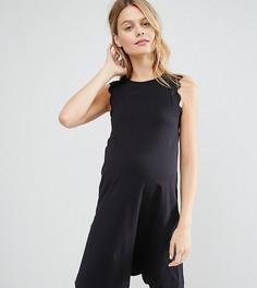 Цельнокройное платье для беременных с фигурной отделкой по краю ASOS Maternity - Черный