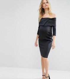 Платье для беременных с широким вырезом и плиссировкой ASOS Maternity - Черный
