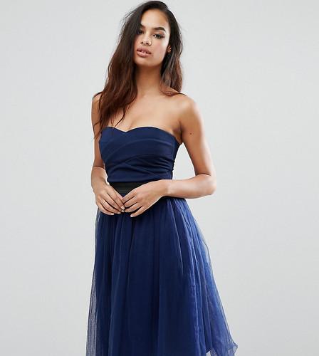 Платье миди без бретелек с юбкой из тюли Rare London - Темно-синий