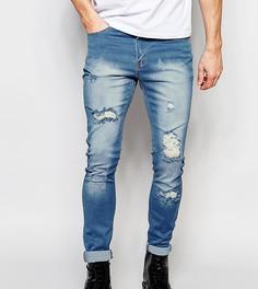 Светлые рваные джинсы скинни Liquor N Poker - Синий