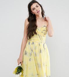 Присборенное платье миди с цветочным принтом ASOS TALL WEDDING - Желтый