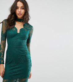 Кружевное облегающее платье с глубоким вырезом Michelle Keegan Loves Lipsy - Зеленый