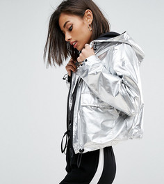 Короткая куртка металлик ASOS PETITE - Серебряный