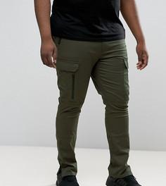 Суперузкие брюки-карго хаки с молниями на карманах ASOS PLUS - Зеленый