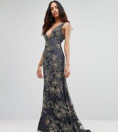 Платье макси с глубоким вырезом и контрастной отделкой A Star Is Born - Серый