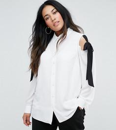 Блузка с открытыми плечами и завязками ASOS CURVE - Белый