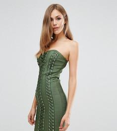 Бандажное платье с вырезом сердечком и декоративной шнуровкой WOW Couture - Зеленый