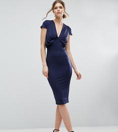 Креповое платье-футболка миди со складками спереди ASOS TALL - Темно-синий