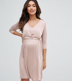 Платье миди с драпировкой для кормящих мам ASOS Maternity - Розовый