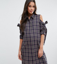 Платье-рубашка в клетку с вырезами на плечах и бантиком ASOS Maternity - Мульти