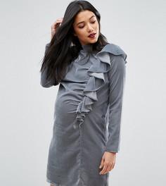 Бархатное платье для беременных с оборкой спереди ASOS Maternity - Синий cb557c99c9f53