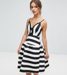 Платье миди в полоску для выпускного ASOS PETITE - Мульти