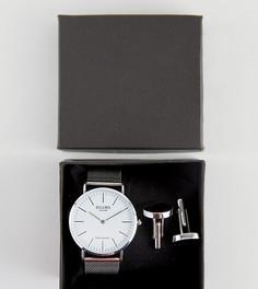 Подарочный набор с серебристыми часами и запонками Reclaimed Vintage Inspired - Серебряный