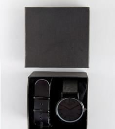 Черные часы со сменным кожаным и сетчатым ремешком в подарочном наборе Reclaimed Vintage эксклюзивно для ASOS - Черный
