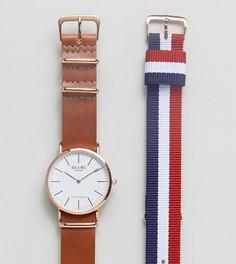 Часы со сменным кожаным и парусиновым ремешком в подарочном наборе Reclaimed Vintage эксклюзивно для ASOS - Мульти