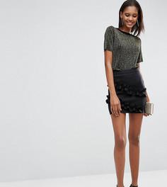 Мини-юбка с двойными оборками ASOS TALL - Черный