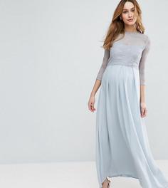 Платье макси с шифоновой юбкой плиссе и кружевным лифом Queen Bee - Серебряный
