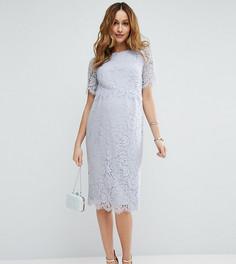 Кружевное платье-футляр миди с укороченным топом ASOS Maternity - Синий