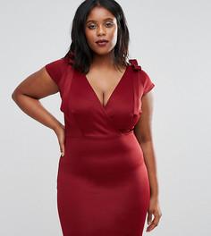 Платье миди с завязками на плечах Club L Plus - Красный