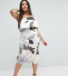 Платье миди на одно плечо с цветочным принтом ASOS CURVE - Мульти