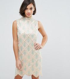 Платье с волнообразным подолом Yumi Petite - Кремовый