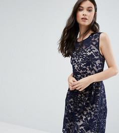 Короткое приталенное платье с кружевной накладкой Yumi Petite - Темно-синий