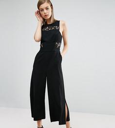 Комбинезон с юбкой-шортами и кружевной отделкой ASOS Premium - Черный