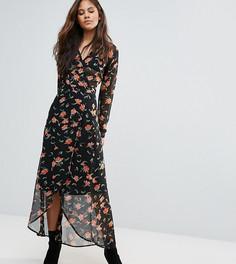 Платье макси с открытой спиной и цветочным принтом ASOS TALL - Синий
