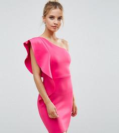 Платье мини на одно плечо с оборкой ASOS PETITE - Розовый