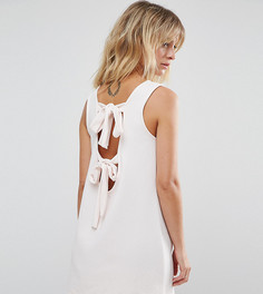 Платье мини в рубчик без рукавов с бантами на спине ASOS PETITE - Бежевый