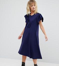 Платье-футболка с рюшами ASOS PETITE - Темно-синий