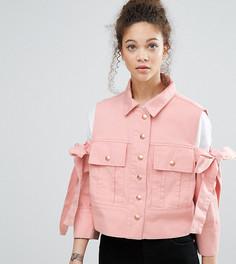Куртка с открытыми плечами и бантами ASOS PETITE - Розовый