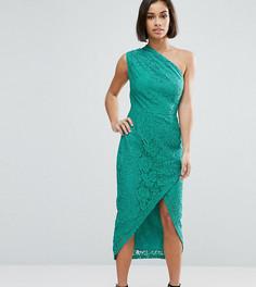 Кружевное платье-футляр миди на одно плечо ASOS PETITE - Синий