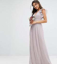 Платье макси с V-образным вырезом и рукавами рюшами TFNC WEDDING - Серый