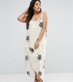 Черно-белое платье миди на бретельках с цветочным принтом ASOS CURVE - Мульти
