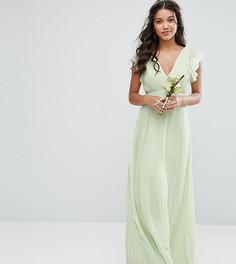 Платье макси с V-образным вырезом и рукавами рюшами TFNC WEDDING - Зеленый